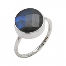 925 Sterling Silver Faceted Round Shape Labradorite Gemstone Ring Jewelry