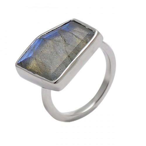 Fancy Shape Labradorite Gemstone 925 Sterling Silver Handmade Designer Ring