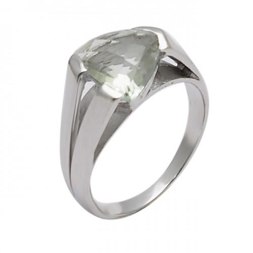 Triangle Shape Green Amethyst Gemstone 925 Sterling Silver Designer Ring