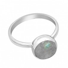 Round Shape Rainbow Moonstone Handcrafted 925 Sterling Silver Ring Jewelry