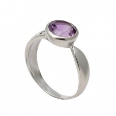 925 Sterling Silver Faceted Round Shape Amethyst Gemstone Designer Ring Jewelry