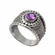 Vintage Handcrafted Designer Amethyst Oval Shape Gemstone 925 Silver Black Oxidized Ring