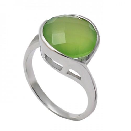 Briolette Round Prehnite Chalcedony Gemstone 925 Sterling Silver Band Designer Ring