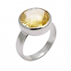 Faceted Round Shape Citrine Gemstone 925 Sterling Silver Designer Ring