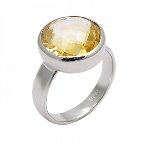 Faceted Round Shape Citrine Gemstone 925 Sterling Silver Designer Ring