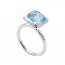 Faceted Square Shape Blue Topaz Gemstone 925 Sterling Silver Designer Ring