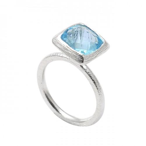 Faceted Square Shape Blue Topaz Gemstone 925 Sterling Silver Designer Ring