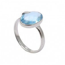 Faceted Oval Shape Blue Topaz Gemstone 925 Sterling Silver Designer Ring