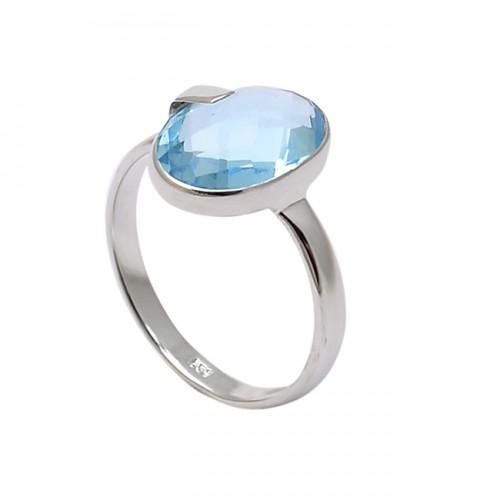 Faceted Oval Shape Blue Topaz Gemstone 925 Sterling Silver Designer Ring
