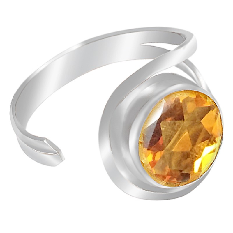 Round Citrine Gemstone Handcrafted 925 Sterling Silver Adjustable Ring Jewelry