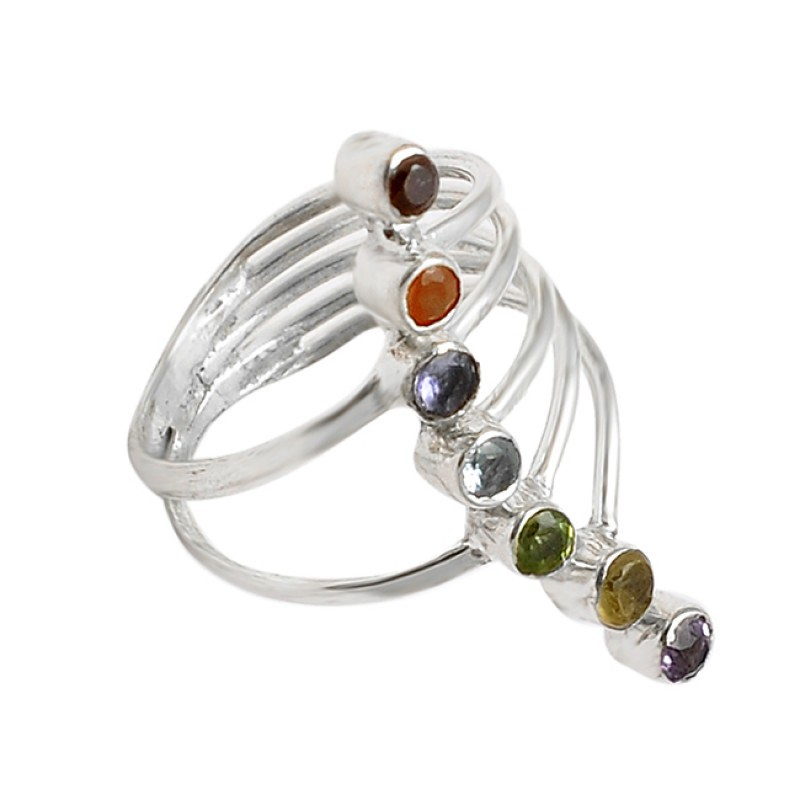 Multi Color Gemstone Faceted Round Shape Gemstone 925 Silver Cocktail Ring Jewelry