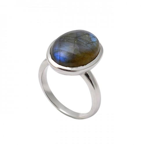 Oval Shape Labradorite Gemstone 925 Sterling Silver Designer Ring