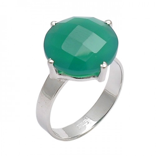 Faceted Round Shape Green Onyx Gemstone 925 Sterling Silver Designer Ring