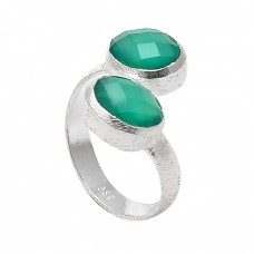 Oval Shape Green Onyx Gemstone 925 Sterling Silver Band Designer Ring Jewelry