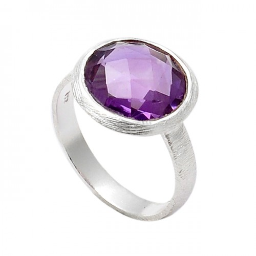 Faceted Round Shape Amethyst Gemstone 925 Sterling Silver Designer Ring
