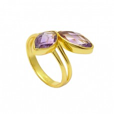Faceted Marquise Shape Amethyst Gemstone 925 Sterling Silver Gold Plated Ring