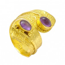 Cabochon Oval Purple Amethyst Gemstone 925 Sterling Silver Gold Plated Band Ring