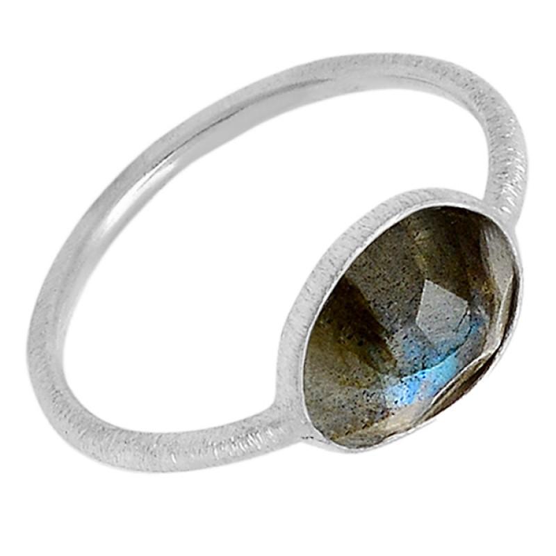 Blue Grey Labradorite Gemstone Lite Weight Designer 925 Sterling Silver Ring Jewelry