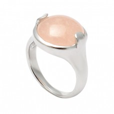 Rose Quartz Round Shape Gemstone 925 Sterling Silver Designer Ring Jewelry