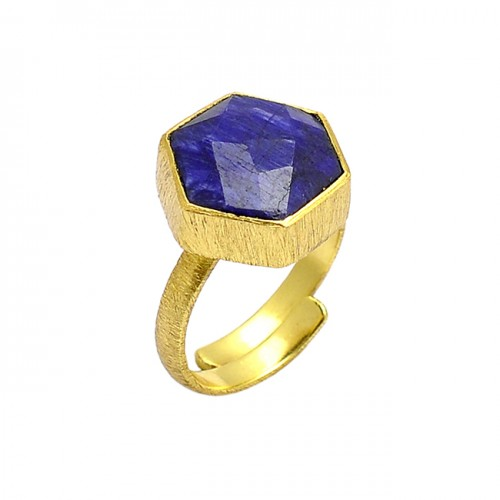 Hexagon Shape Lapis Lazuli Gemstone 925 Sterling Silver Gold Plated Ring Jewelry
