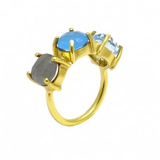 Labradorite Blue Topaz Chalcedony Gemstone 925 Silver Gold Plated Ring Jewelry