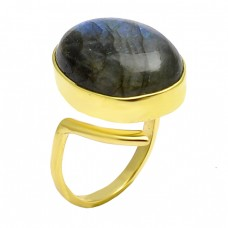 Labradorite Cabochon Oval Gemstone 925 Sterling Silver Gold Plated Band Ring