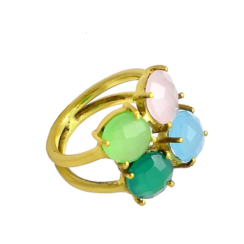 Onyx Chalcedony Round Shape Gemstone 925 Sterling Silver Gold Plated Rings