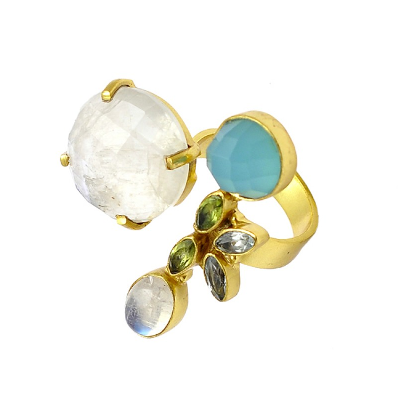 925 Sterling Silver Multi Color Gemstone Handcrafted Designer Gold Plated Ring Jewelry