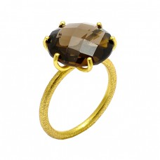 Prong Setting Round Shape Smoky Quartz Gemstone 925 Silver Gold Plated Ring
