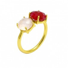 Rose Quartz Ruby Gemstone 925 Sterling Silver Gold Plated Ring Jewelry