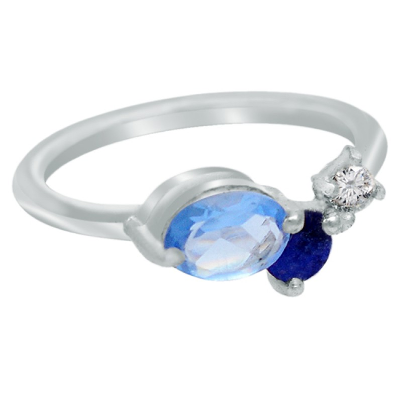 Aqua Chalcedony Blue Sapphire Crystal Quartz Gemstone 925 Sterling Silver Ring Jewelry