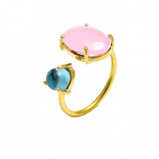 Rose Chalcedony Turquoise Gemstone 925 Sterling Silver Gold Plated Ring