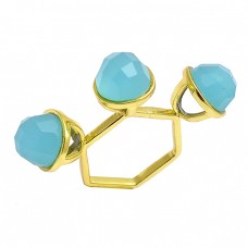 Aqua Chalcedony Highdoom Round Shape Gemstone 925 Sterling Silver Gold Plated Rings