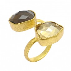 Fancy Shape Smoky Quartz Gemstone 925 Sterling Silver Gold Plated Band Ring