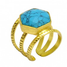 Hexagon Shape Matrix Tourquise Gemstone 925 Sterling Silver Gold Plated Adjustable Ring