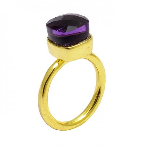 Square Shape Amethyst Gemstone 925 Sterling Silver Gold Plated Designer Ring