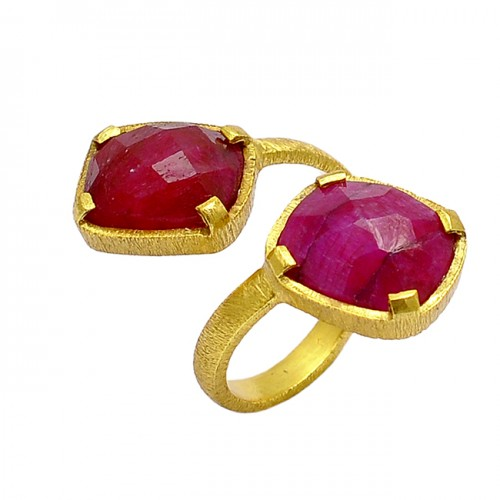 Briolettte Cushion Shape Ruby Gemstone 925 Silver Gold Plated Band Designer Ring