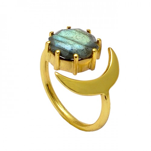 925 Silver Labradorite Round Shape Gemstone Moon Designer Gold Plated Ring Jewelry