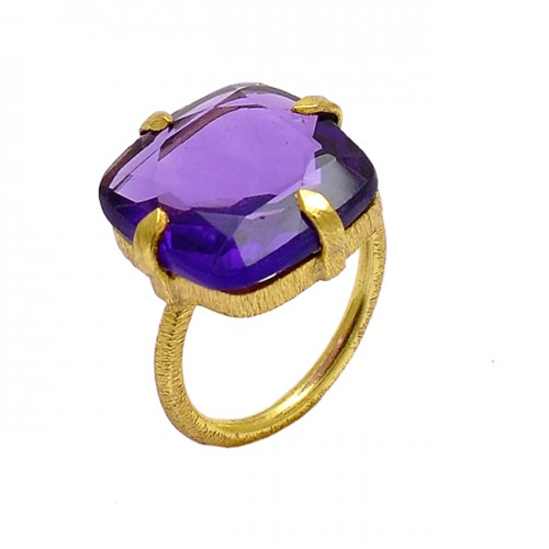 Faceted Square Shape Amethyst Gemstone 925 Sterling Silver Gold Plated Ring