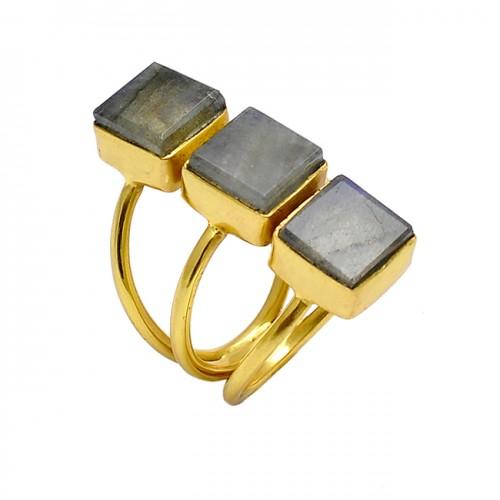 Square Shape Labradorite Gemstone 925 Silver Gold Plated Handmade Ring Jewelry