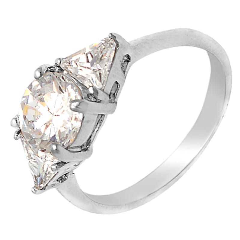Prong Setting Cubic Zirconia Round Gemstone 925 Sterling Silver Jewelry Ring