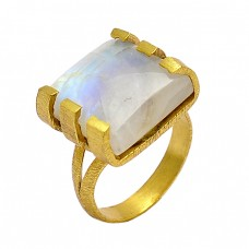 Cabochon Square Shape Rainbow Moonstone 925 Sterling Silver Gold Plated Ring