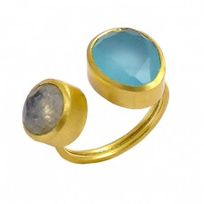 Oval Round Shape Chalcedony Labradorite Gemstone 925 Silver Unique Gold Plated Ring