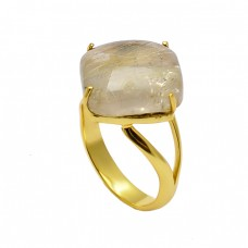 Golden Rutile Quartz Cabochon Square Gemstone 925 Silver Gold Plated Band Ring Jewerly