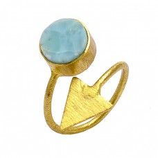 Round Shape Larimar Gemstone 925 Sterling Silver Gold Plated Ring Jewelry