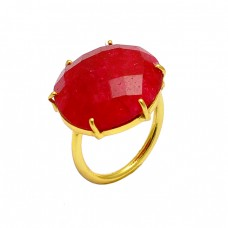 Prong Setting Oval Shape Ruby Gemstone 925 Sterling Silver Gold Plated Ring