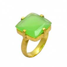 Prehnite Chalcedony Gemstone 925 Sterling Silver Gold Plated Ring Jewelry
