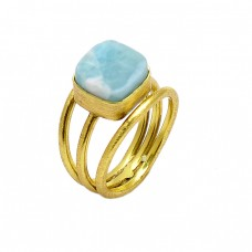 Square Shape Larimar Gemstone 925 Sterling Silver Gold Plated Ring Jewelry