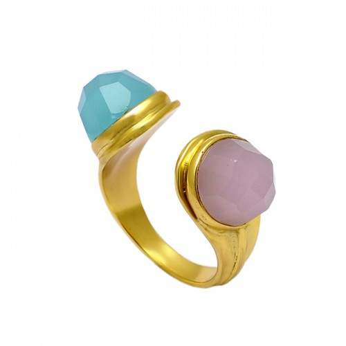 Rose Aqua Color Chalcedony Highdoom Round Gemstone Gold Plated Ring Jewelry