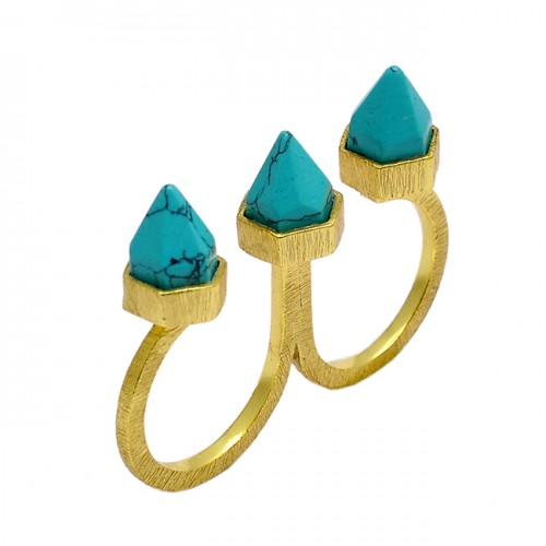 Two Finger Designer Pencil Shape Turquoise Gemstone 925 Silver Gold Plated Ring